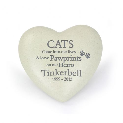 Personalised Cat Pawprints Heart Memorial